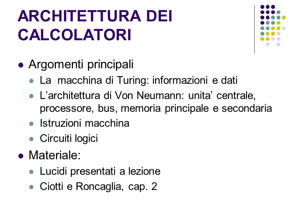ARCHITETTURA DEI CALCOLATORI