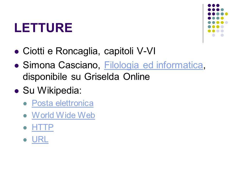 LETTURE Ciotti e Roncaglia, capitoli V-VI