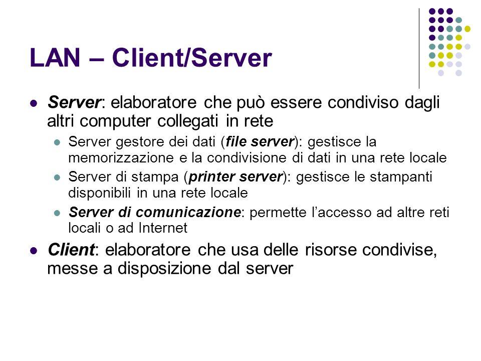 LAN – Client/ServerServer: elaboratore che può essere condiviso dagli altri computer collegati in rete.