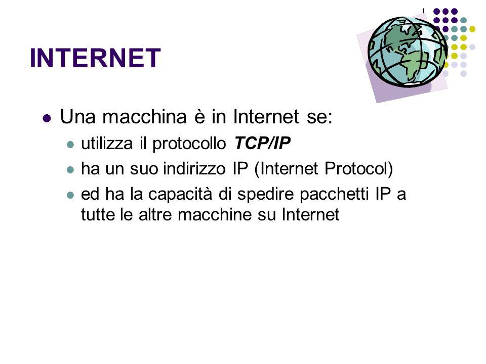 INTERNET Una macchina è in Internet se: utilizza il protocollo TCP/IP