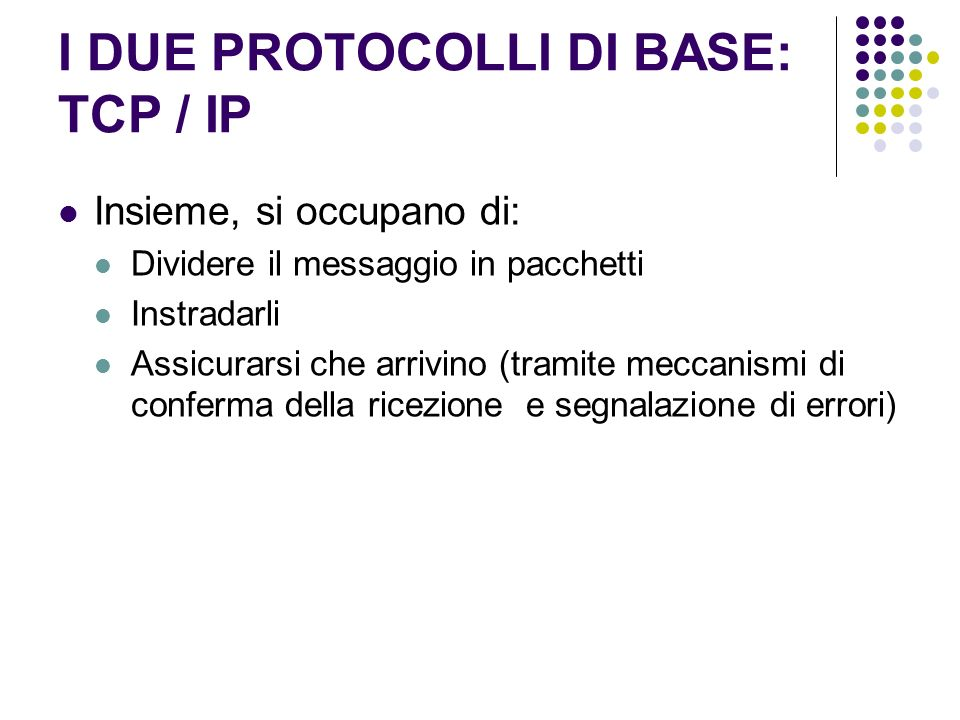 I DUE PROTOCOLLI DI BASE: TCP / IP
