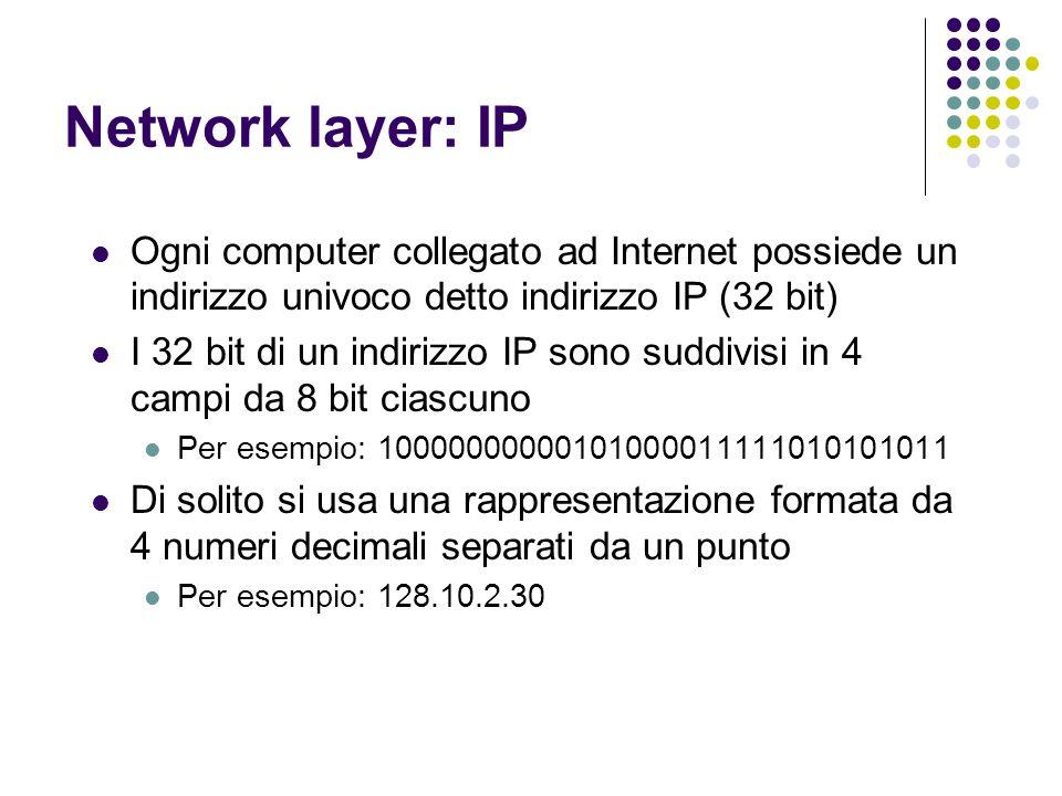 Network layer: IPOgni computer collegato ad Internet possiede un indirizzo univoco detto indirizzo IP (32 bit)
