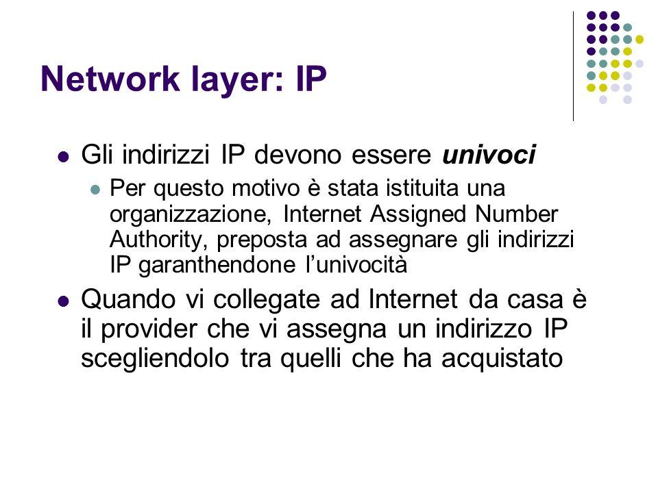 Network layer: IP Gli indirizzi IP devono essere univoci