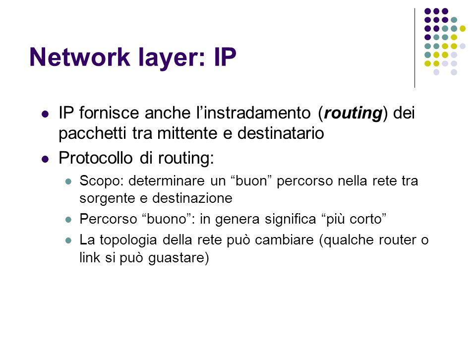 Network layer: IP IP fornisce anche l'instradamento (routing) dei pacchetti tra mittente e destinatario.