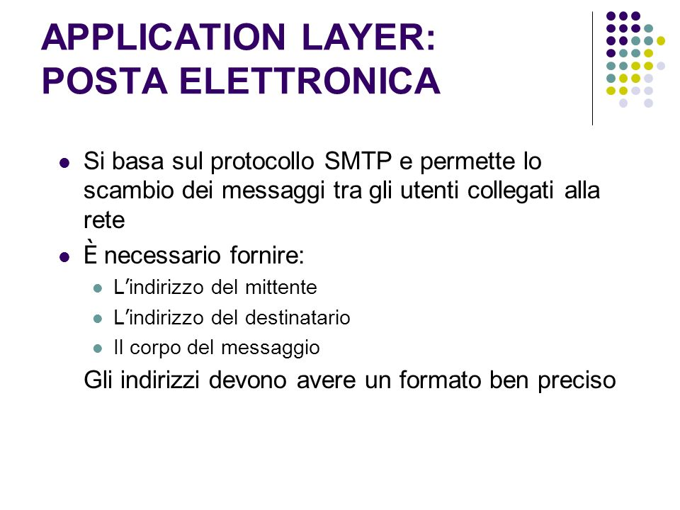 APPLICATION LAYER: POSTA ELETTRONICA