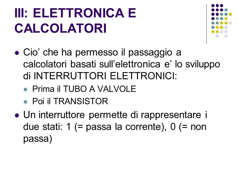 III: ELETTRONICA E CALCOLATORI