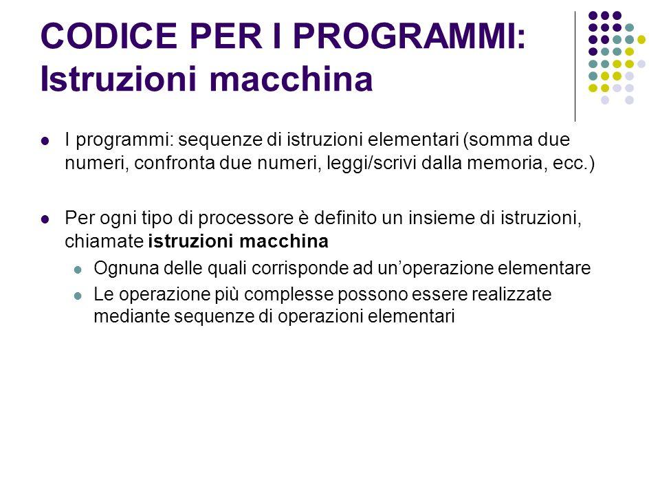 CODICE PER I PROGRAMMI: Istruzioni macchina