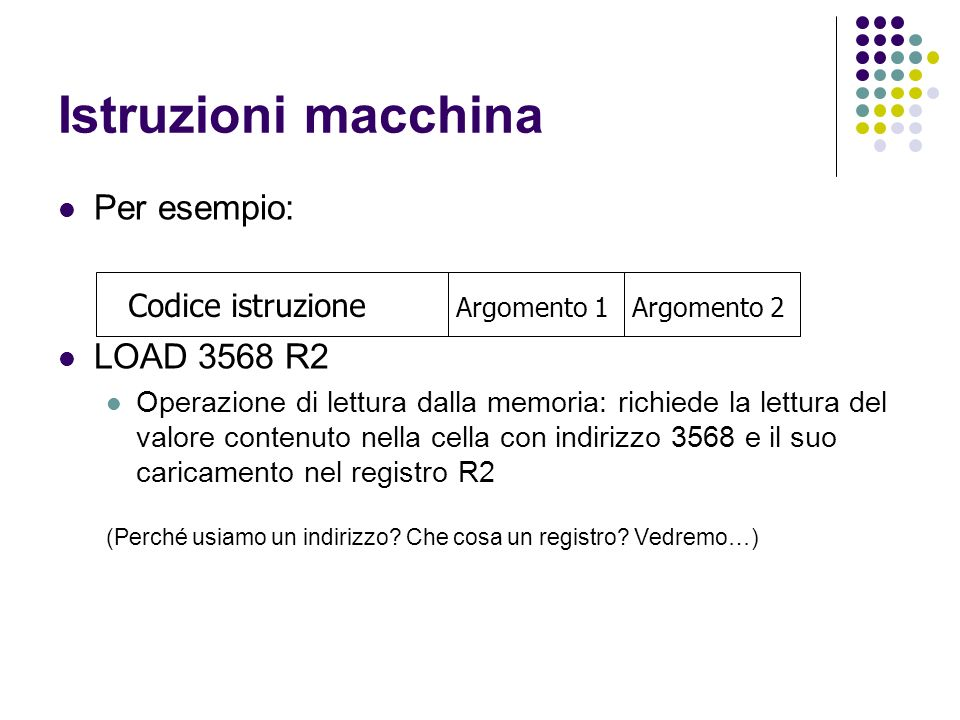 Istruzioni macchina Per esempio: LOAD 3568 R2 Codice istruzione