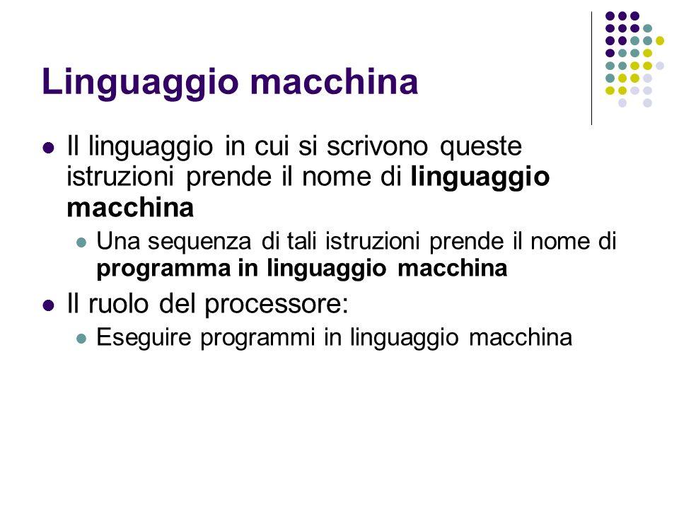 Linguaggio macchina Il linguaggio in cui si scrivono queste istruzioni prende il nome di linguaggio macchina.