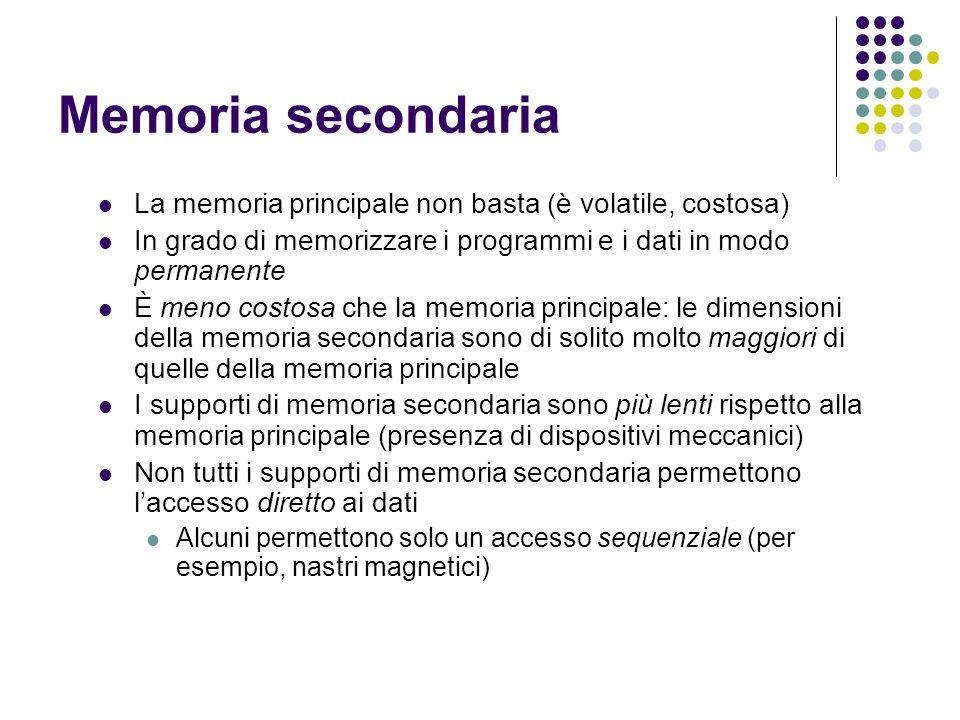 Memoria secondaria La memoria principale non basta (è volatile, costosa) In grado di memorizzare i programmi e i dati in modo permanente.