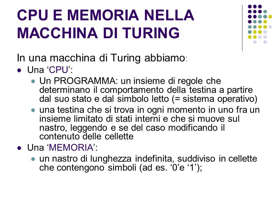 CPU E MEMORIA NELLA MACCHINA DI TURING