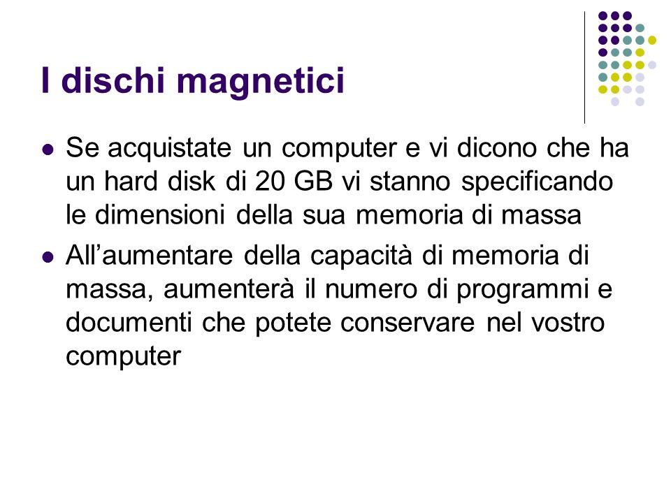 I dischi magnetici Se acquistate un computer e vi dicono che ha un hard disk di 20 GB vi stanno specificando le dimensioni della sua memoria di massa.