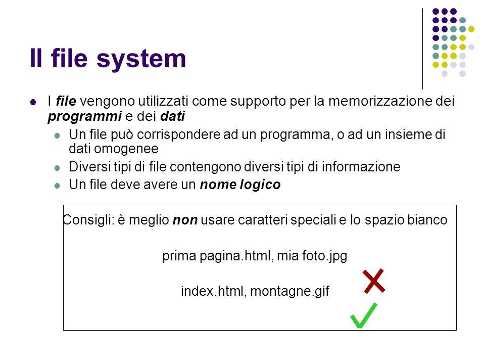 Il file system I file vengono utilizzati come supporto per la memorizzazione dei programmi e dei dati.