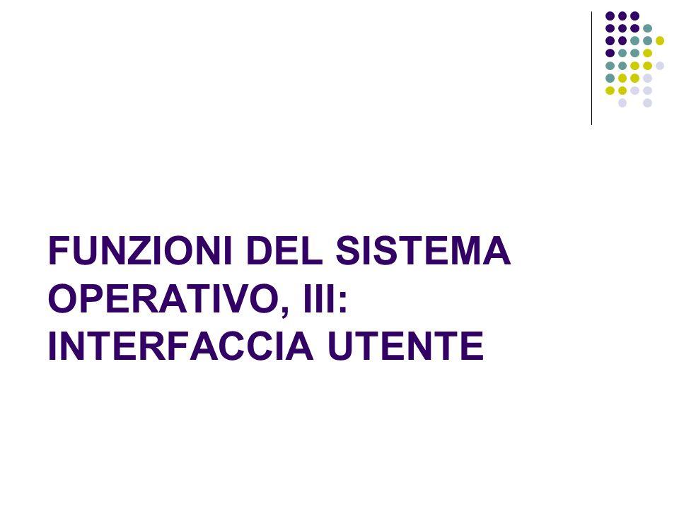 FUNZIONI DEL SISTEMA OPERATIVO, III: INTERFACCIA UTENTE