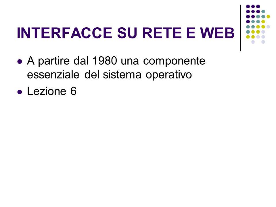 INTERFACCE SU RETE E WEB