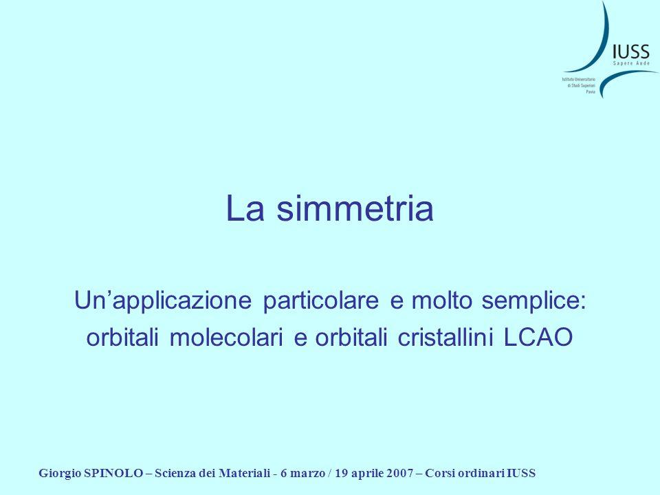La simmetria Un'applicazione particolare e molto semplice: