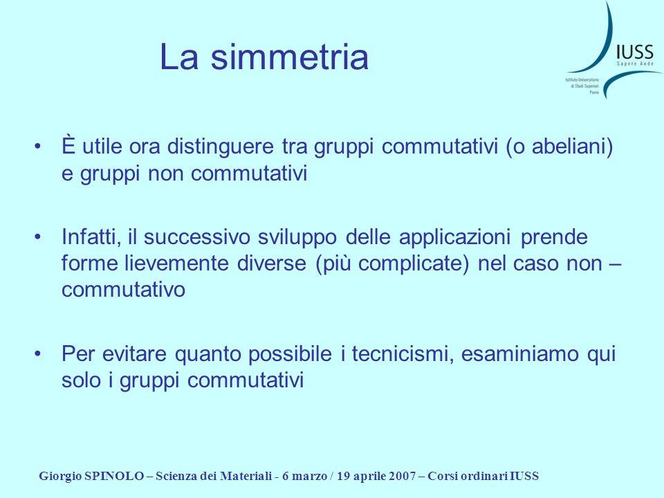 La simmetria È utile ora distinguere tra gruppi commutativi (o abeliani) e gruppi non commutativi.