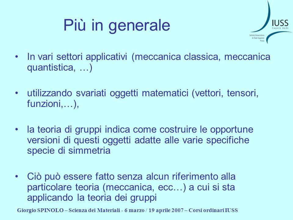 Più in generale In vari settori applicativi (meccanica classica, meccanica quantistica, …)