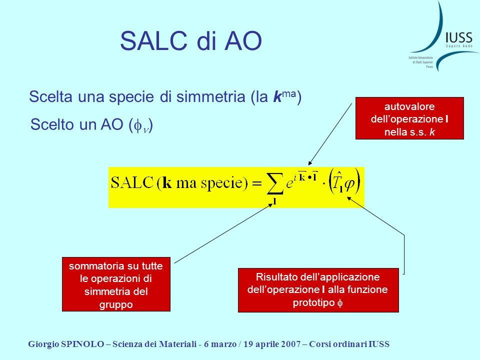 SALC di AO Scelta una specie di simmetria (la kma) Scelto un AO (fn)