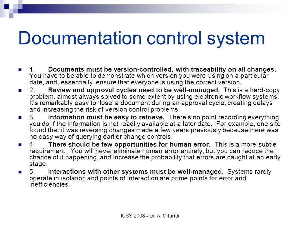 Documentation control system