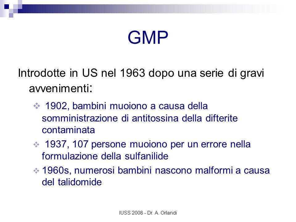 GMP Introdotte in US nel 1963 dopo una serie di gravi avvenimenti: