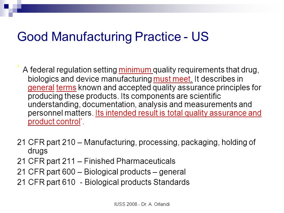 Good Manufacturing Practice - US