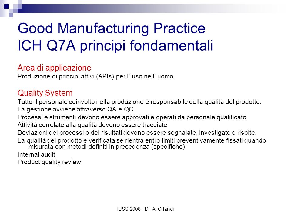 Good Manufacturing Practice ICH Q7A principi fondamentali