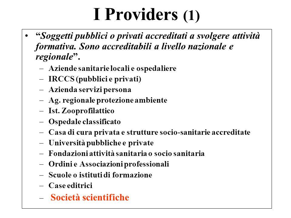 I Providers (1) Soggetti pubblici o privati accreditati a svolgere attività formativa. Sono accreditabili a livello nazionale e regionale .