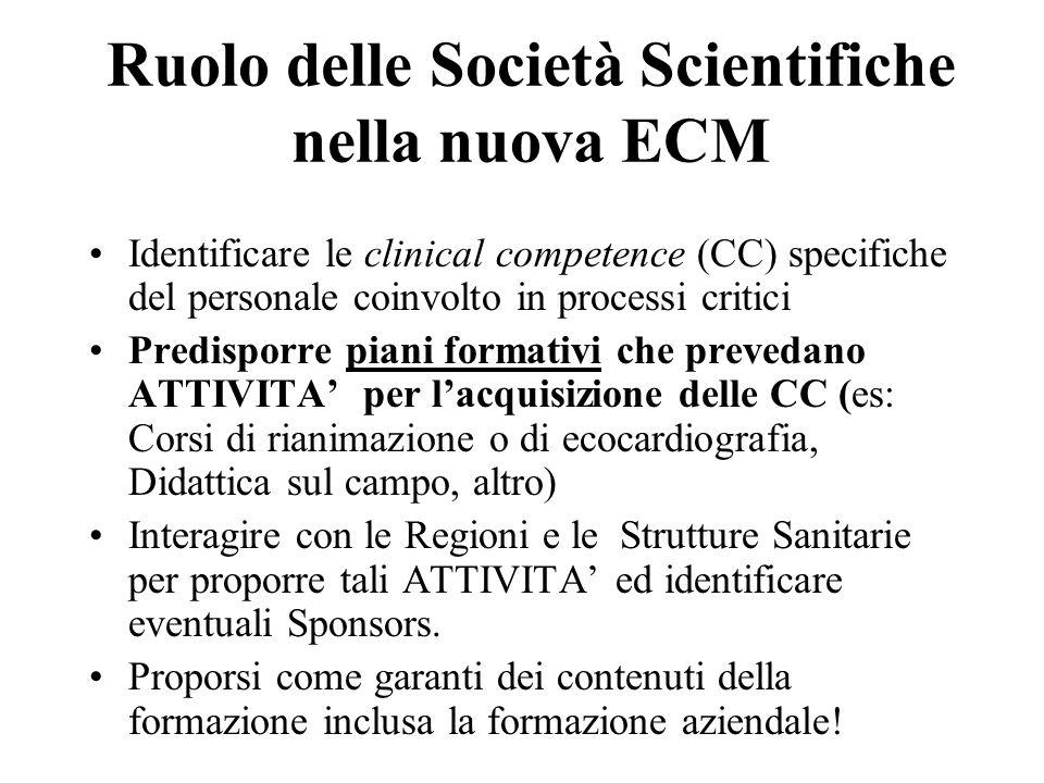 Ruolo delle Società Scientifiche nella nuova ECM