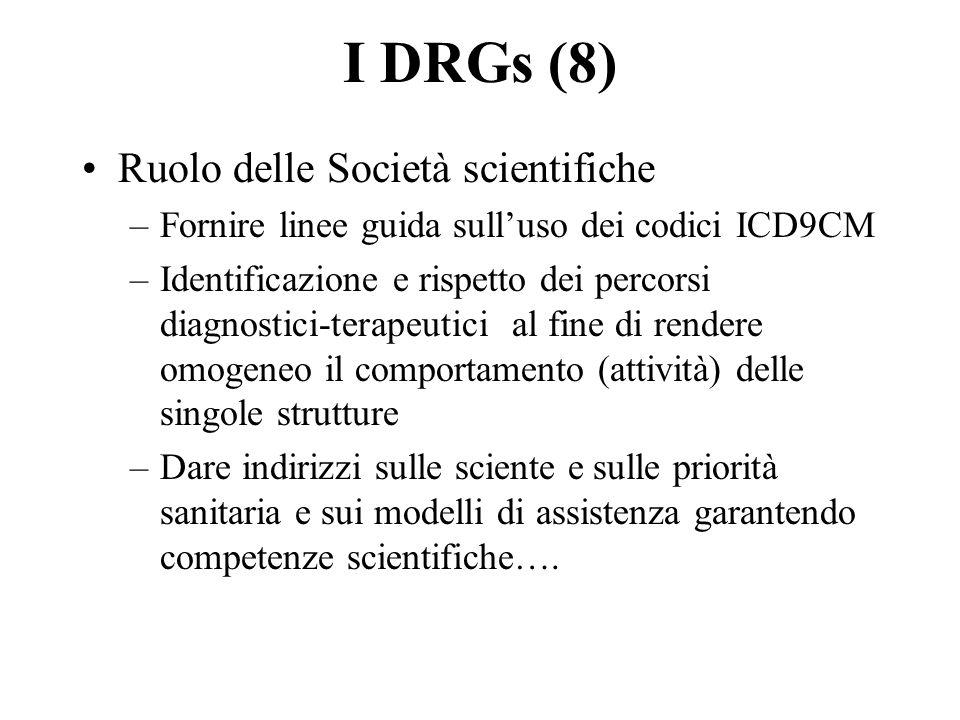 I DRGs (8) Ruolo delle Società scientifiche