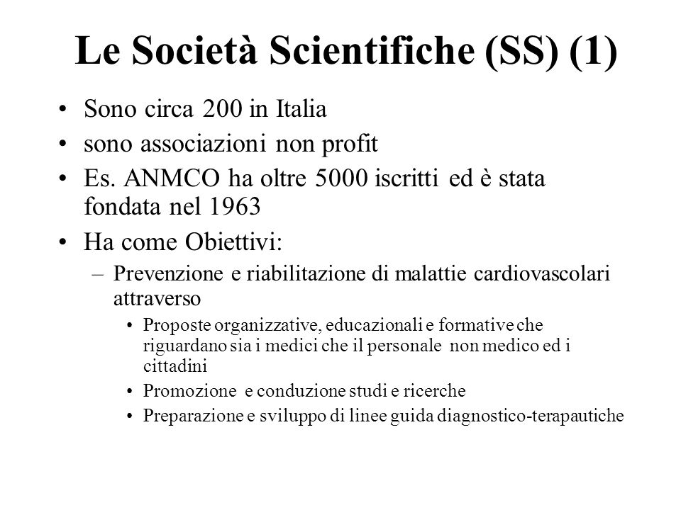 Le Società Scientifiche (SS) (1)