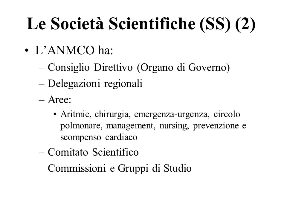 Le Società Scientifiche (SS) (2)