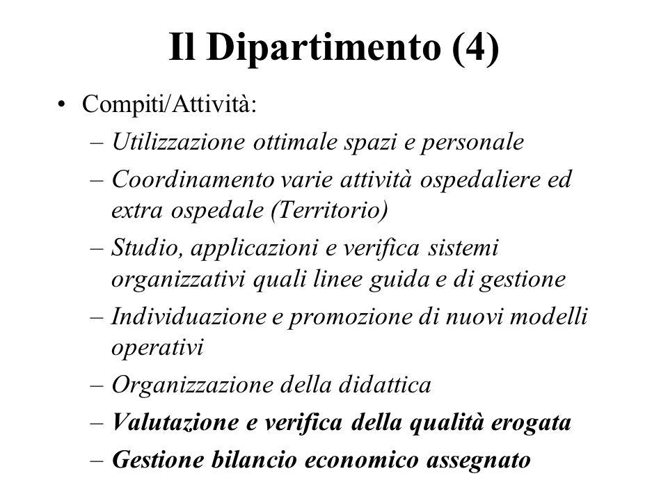 Il Dipartimento (4) Compiti/Attività: