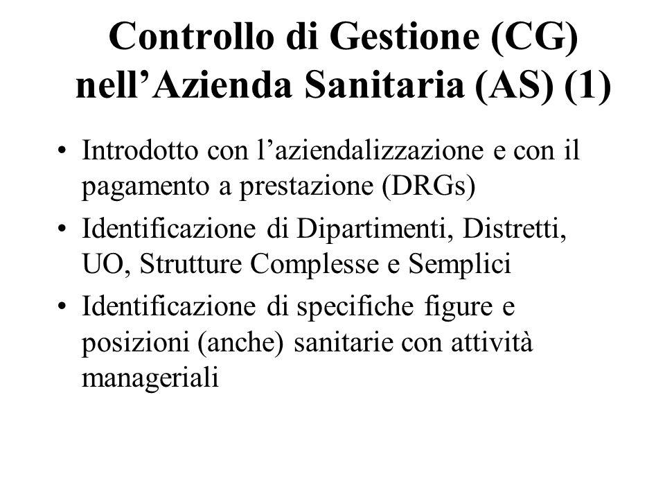 Controllo di Gestione (CG) nell'Azienda Sanitaria (AS) (1)
