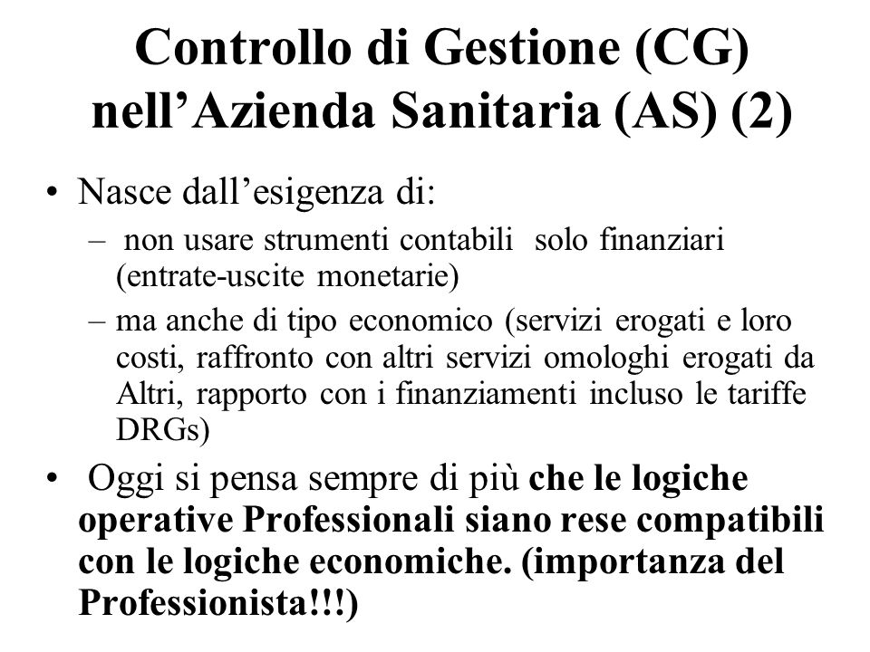 Controllo di Gestione (CG) nell'Azienda Sanitaria (AS) (2)