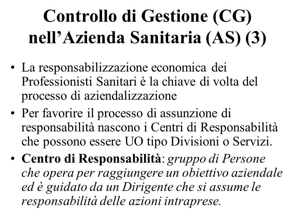 Controllo di Gestione (CG) nell'Azienda Sanitaria (AS) (3)
