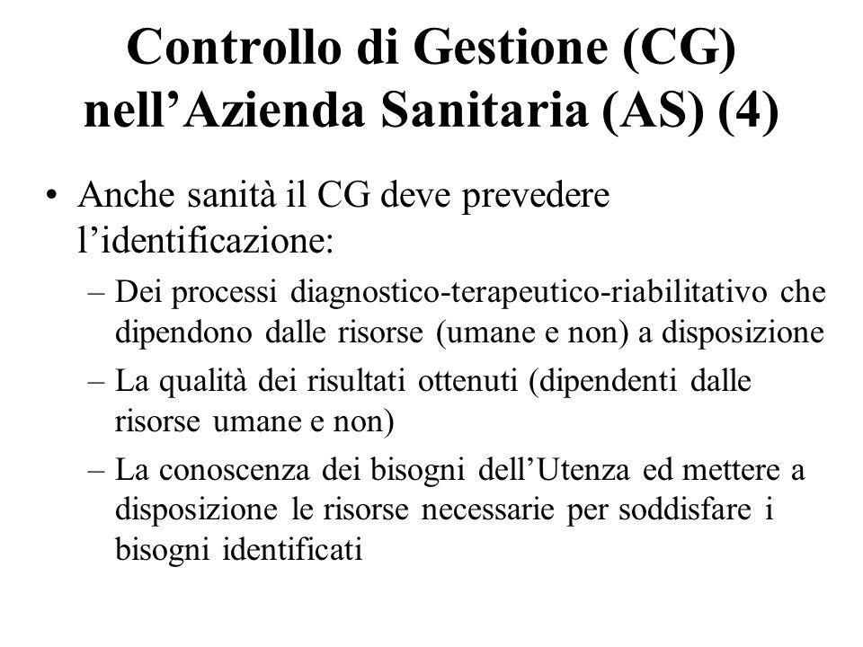 Controllo di Gestione (CG) nell'Azienda Sanitaria (AS) (4)