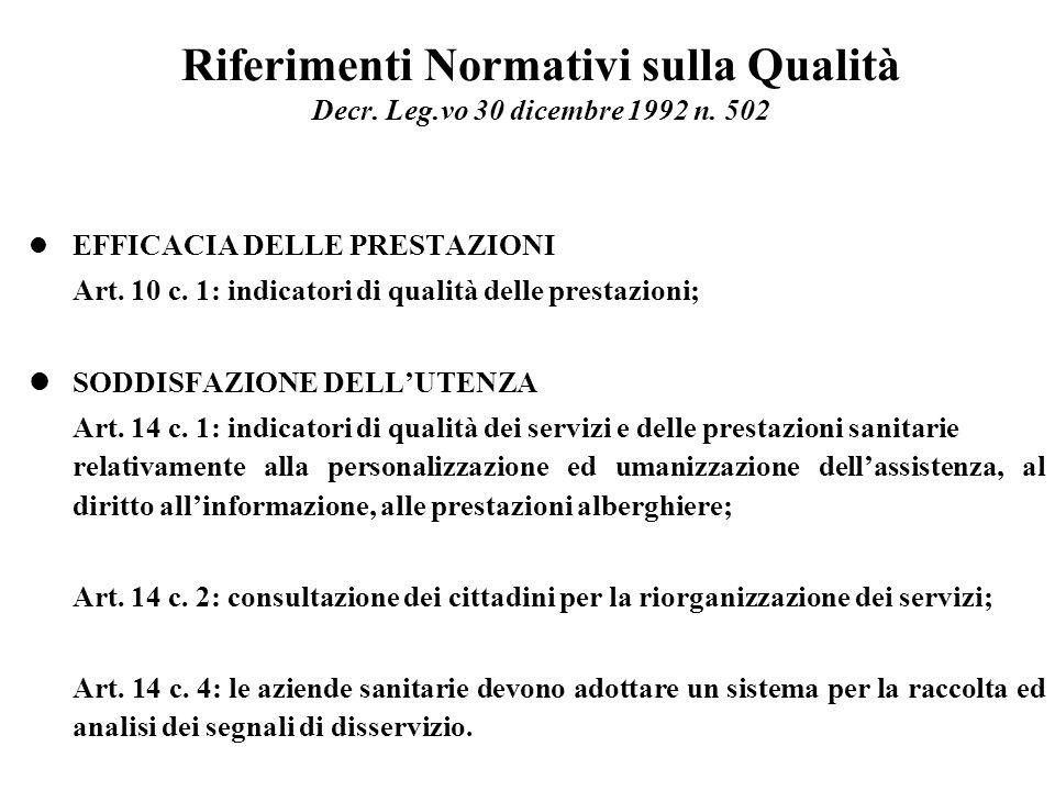 Riferimenti Normativi sulla Qualità Decr. Leg. vo 30 dicembre 1992 n