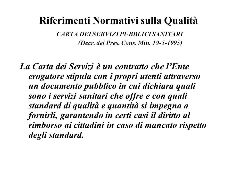 Riferimenti Normativi sulla Qualità CARTA DEI SERVIZI PUBBLICI SANITARI (Decr. del Pres. Cons. Min. 19-5-1995)