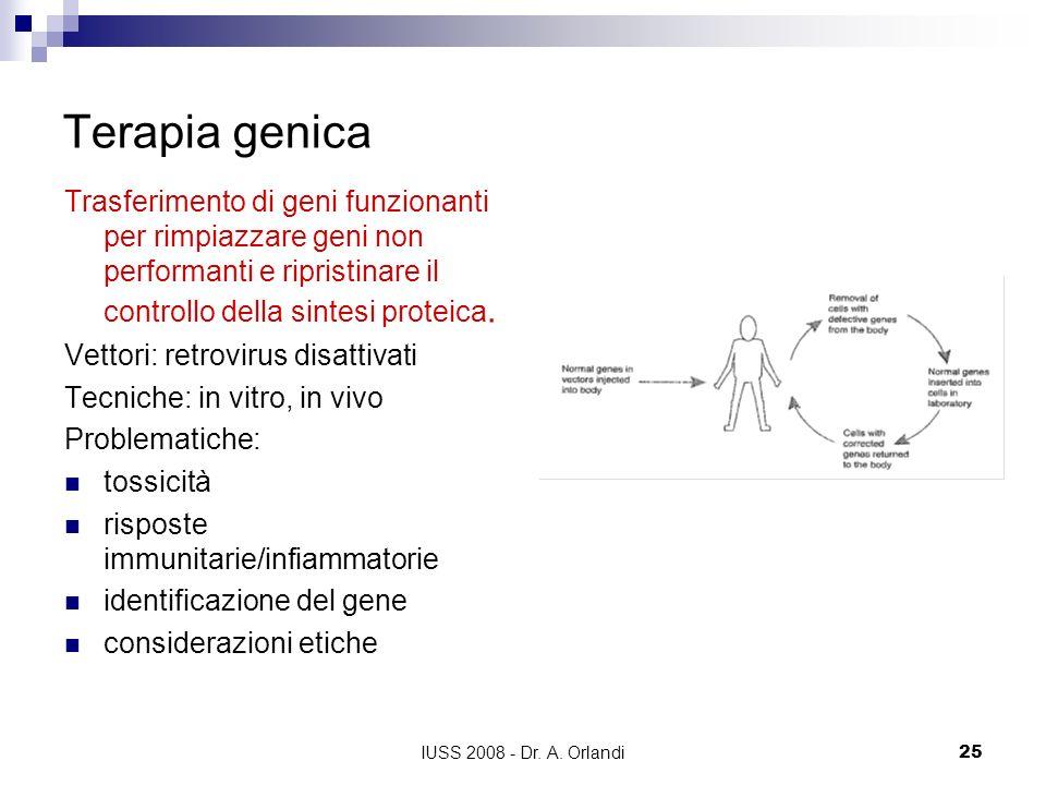 Terapia genica Trasferimento di geni funzionanti per rimpiazzare geni non performanti e ripristinare il controllo della sintesi proteica.