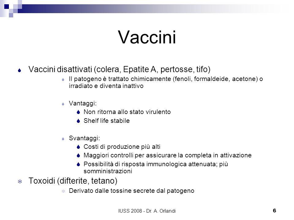 Vaccini Vaccini disattivati (colera, Epatite A, pertosse, tifo)