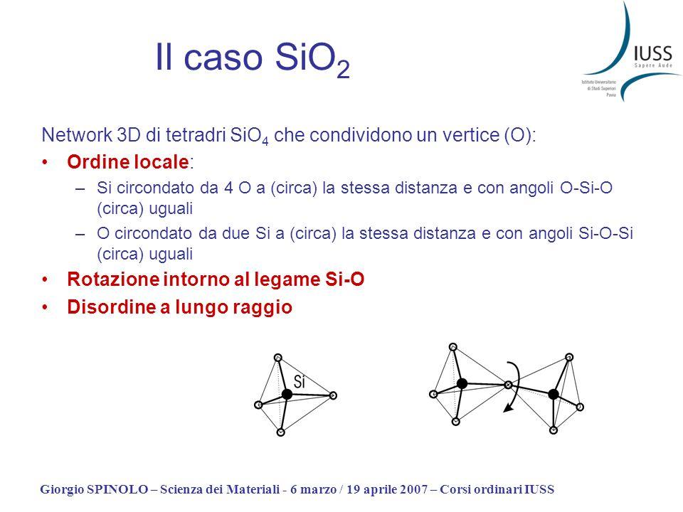 Il caso SiO2Network 3D di tetradri SiO4 che condividono un vertice (O): Ordine locale: