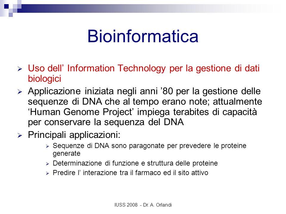 Bioinformatica Uso dell' Information Technology per la gestione di dati biologici.