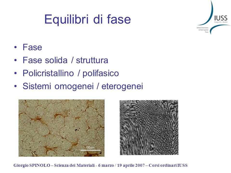 Equilibri di fase Fase Fase solida / struttura