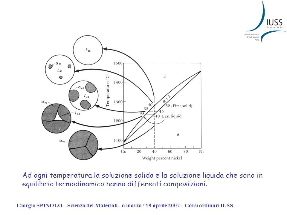 Ad ogni temperatura la soluzione solida e la soluzione liquida che sono in equilibrio termodinamico hanno differenti composizioni.