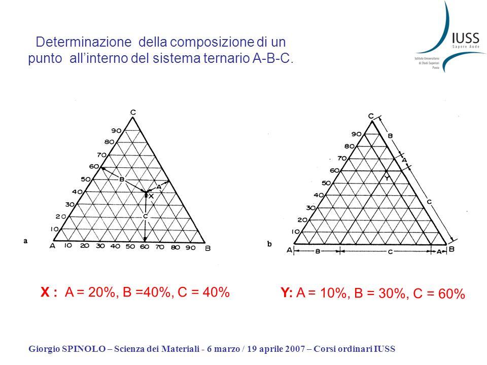 Determinazione della composizione di un punto all'interno del sistema ternario A-B-C.