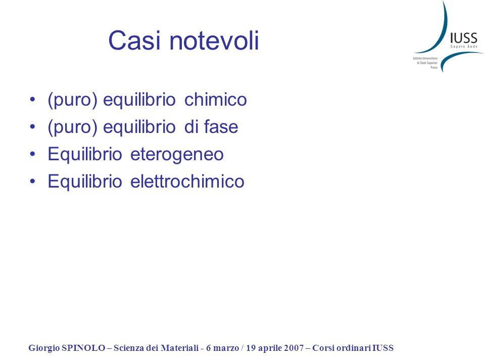 Casi notevoli (puro) equilibrio chimico (puro) equilibrio di fase