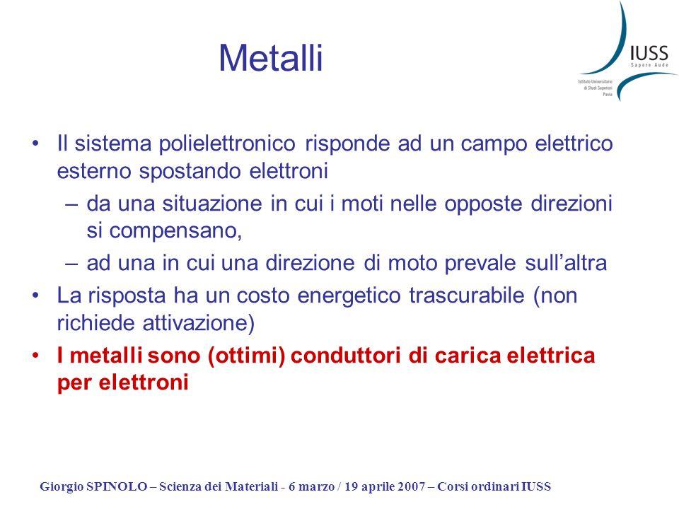 Metalli Il sistema polielettronico risponde ad un campo elettrico esterno spostando elettroni.