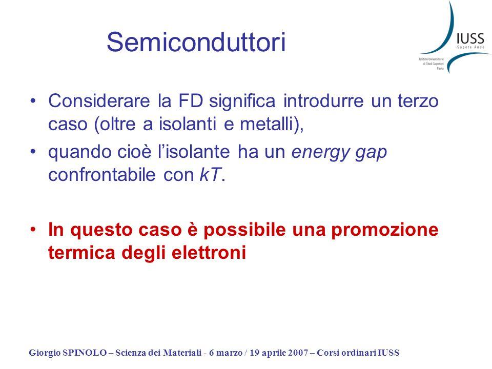 SemiconduttoriConsiderare la FD significa introdurre un terzo caso (oltre a isolanti e metalli),