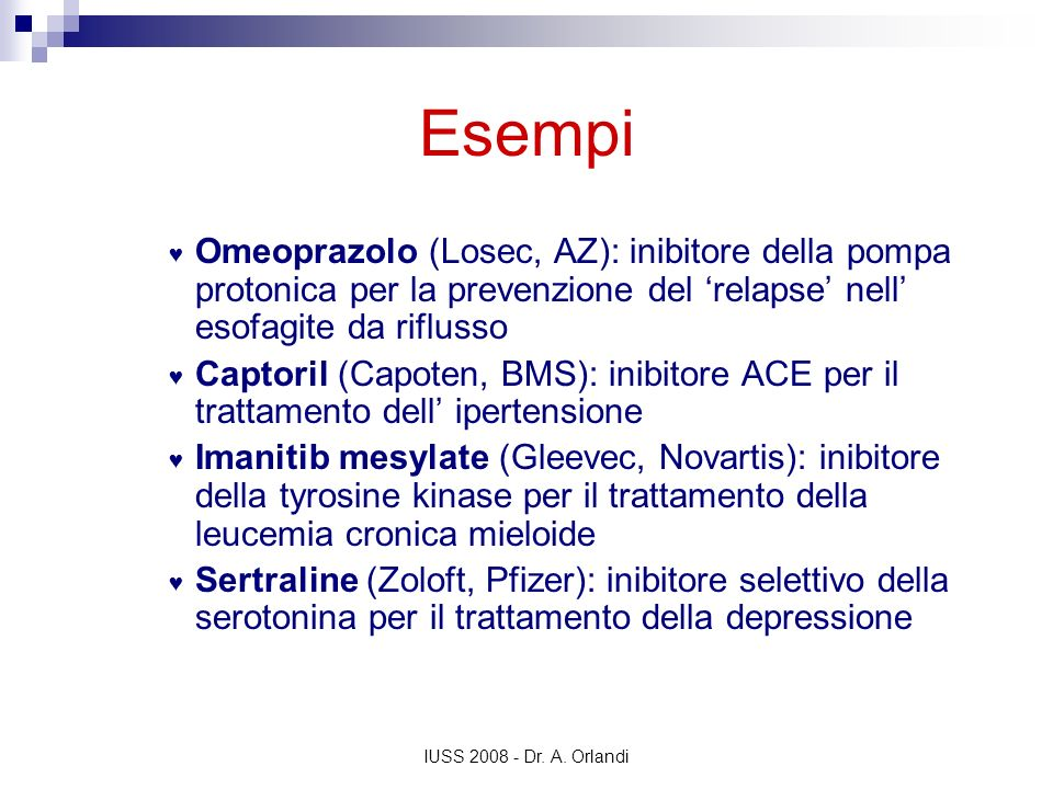 EsempiOmeoprazolo (Losec, AZ): inibitore della pompa protonica per la prevenzione del 'relapse' nell' esofagite da riflusso.